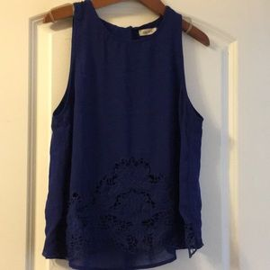 Royal blue scallop tank top size M